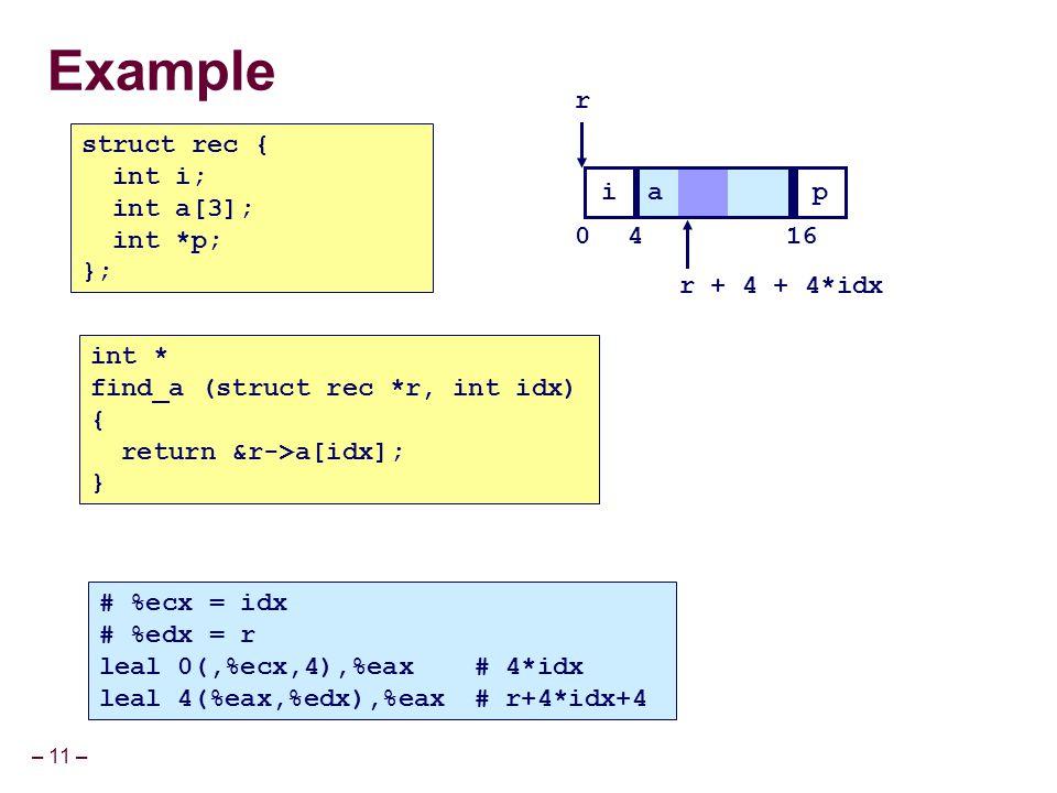 Example r struct rec { int i; int a[3]; int *p; }; i a p 4 16